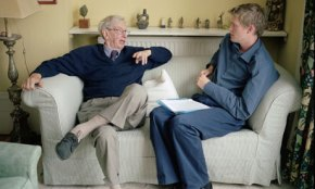 Eric Hobsbawm, left, in conversation with Tristram Hunt. Photograph: Karen Robinson