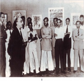 Inauguration of the first group show of Progressive Artists Group (1948) by Sir Cowasji Jehangir (L to R: Emmanuel Schelinger, F N Souza, M B Gade, S Bakre, K H Ara, S H Raza, M F Hussain, Anant Kannangi)