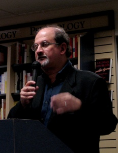 "file: Salman Rushdie Salman Rushdie presenting his book ""Shalimar the clown"" at Mountain View, USA, October 2005 (image: Ken Conley/wiki)"
