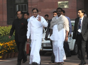 The Union Finance Minister, Shri P. Chidambaram departs from North Block to Parliament House along with the Ministers of State for Finance, Shri Namo Narain Meena and Shri S.S. Palanimanickam to present the General Budget 2013-14, in New Delhi on February 28, 2013. Image: Press Information Bureau, Government of India