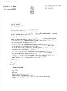 Subhash Chopra's Letter to CM