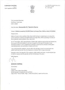 Subhash Chopra's Letter to LG