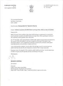Subhash Chopra's Letter to LG