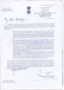 Union Environment Minister's Letter to CM