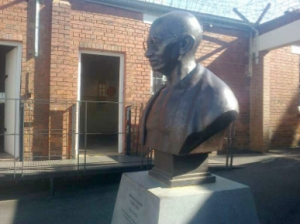 Gandhi's bust in the prison unveiled in 2012