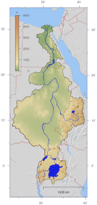 Course and Watershed of the Nile with topography shading and political boundaries.