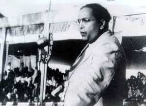B. R. Ambedkar delivering a speech to a rally at Yeola, Nasik, on 13 October 1935