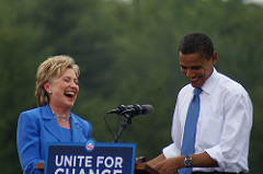 Hillary Clinton & Barack Obama (File photo: Marc Nozell)